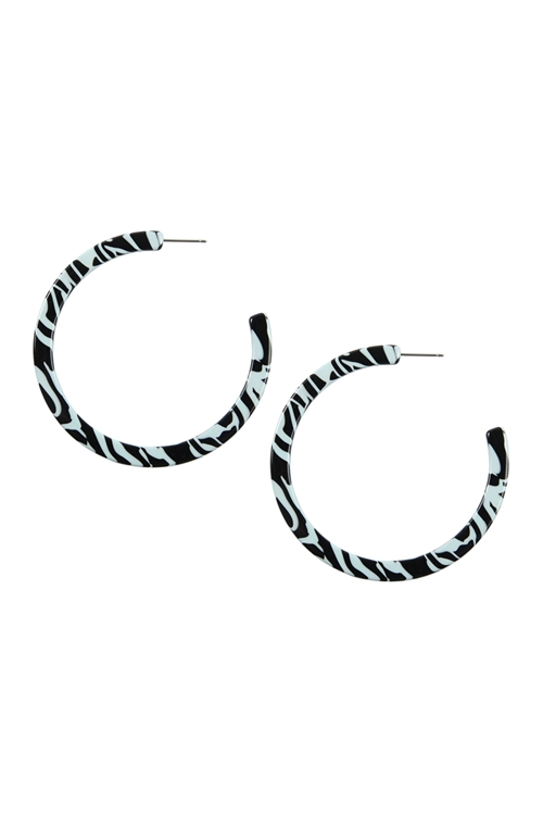 A1-1-2-AVE2385BLZ BLUISH ZEBRA STRIPED POST HOOP EARRINGS/6PAIRS