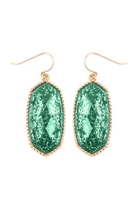 SA3-1-2-AVE2393WGGR GREEN FACETED HEXAGON GLITTERS DROP EARRINGS/6PAIRS