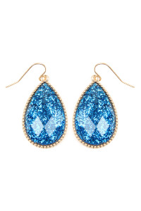SA3-3-2-AVE2397WGBL BLUE FACETED GLITTERY TEARDROP EARRINGS/6PAIRS