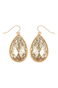 SA3-3-2-AVE2397WGGD GOLD FACETED GLITTERY TEARDROP EARRINGS/6PAIRS