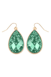 SA3-3-2-AVE2397WGGR GREEN FACETED GLITTERY TEARDROP EARRINGS/6PAIRS