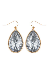 SA3-1-4-AVE2397WGGY GRAY FACETED GLITTERY TEARDROP EARRINGS/6PAIRS
