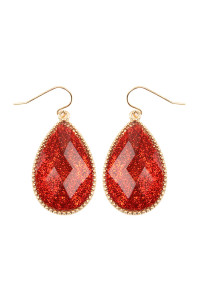 SA3-1-4-AVE2397WGRD RED FACETED GLITTERY TEARDROP EARRINGS/6PAIRS