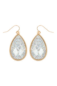 SA3-3-2-AVE2397WGSV SILVER FACETED GLITTERY TEARDROP EARRINGS/6PAIRS