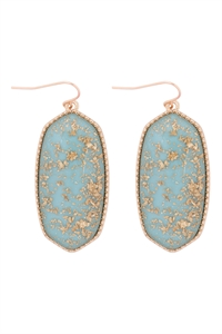 A1-2-3-VE2589GDAQ - OVAL STONE W/ GOLD SPECKS EARRINGS - AQUA/6PCS