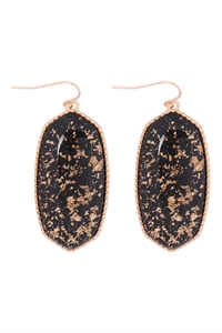 A1-1-2-VE2589GDBK - OVAL STONE W/ GOLD SPECKS EARRINGS - BLACK/6PCS