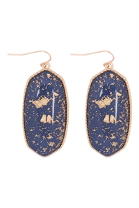 A1-2-3-VE2589GDBL - OVAL STONE W/ GOLD SPECKS EARRINGS - BLUE/6PCS