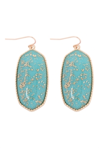 A1-1-2-VE2589GDTQ - OVAL STONE W/ GOLD SPECKS EARRINGS - TURQUOISE/6PCS