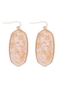 A1-1-2-VE2589GDWT - OVAL STONE W/ GOLD SPECKS EARRINGS - WHITE/6PCS