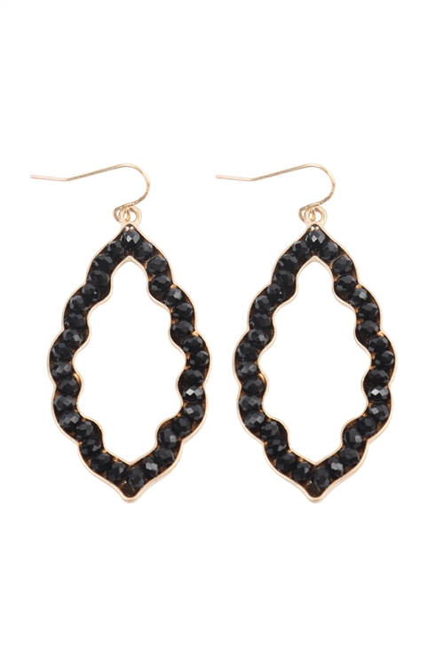 S23-1-3-VE2617WGBK - LEAF SHAPE WITH GLASS BEADS HOOK DROP EARRINGS MATTE GOLD BLACK/6PCS