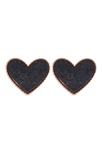 A1-1-2-VE2743GDBK - HEART DRUZY POST EARRINGS - GOLD BLACK/6PCS