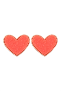 S1-1-1-VE2743GDCO - HEART DRUZY POST EARRINGS - GOLD CORAL/6PCS