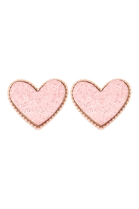 S1-2-3-VE2743GDCP - HEART DRUZY POST EARRINGS - GOLD CORAL PINK/6PCS