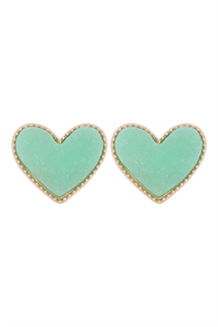 S1-2-3-VE2743GDDMN - HEART DRUZY POST EARRINGS - GOLD MINT/6PCS