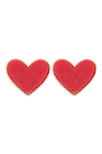 S1-2-3-VE2743GDDRD - HEART DRUZY POST EARRINGS - GOLD RED/6PCS