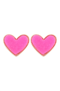 S1-1-5-VE2743GDPK - HEART DRUZY POST EARRINGS - GOLD PINK/6PCS