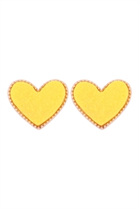 S1-1-1-VE2743GDYL - HEART DRUZY POST EARRINGS - YELLOW/6PCS