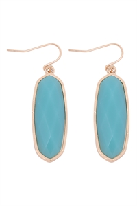 A1-1-3-VE2783GDAQ - OVAL  STONE FISH HOOK DROP EARRINGS - AQUA/6PCS