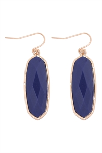 A1-1-3-VE2783GDBL - OVAL  STONE FISH HOOK DROP EARRINGS - BLUE/6PCS