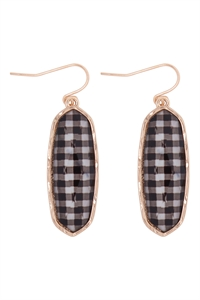 A1-3-4-VE2783GDBW -  - OVAL  STONE FISH HOOK DROP EARRINGS - CHECKERED BLACK WHITE/6PCS
