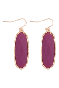 A1-1-3-VE2783GDFU - OVAL  STONE FISH HOOK DROP EARRINGS - FUCHSIA/6PCS
