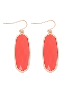 A1-1-3-VE2783GDOR -  - OVAL  STONE FISH HOOK DROP EARRINGS - ORANGE/6PCS
