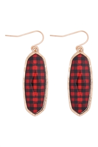 A1-3-4-VE2783GDRD1 -  - OVAL  STONE FISH HOOK DROP EARRINGS - CHECKERED BLACK RED/6PCS