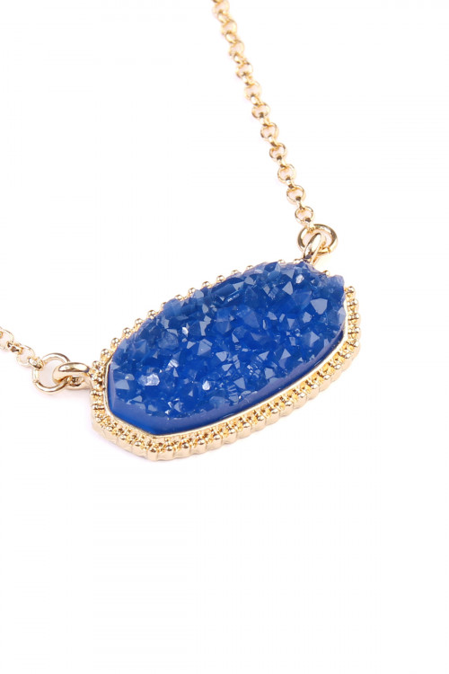 A2-1-3-AVNE0531GDBL GOLD BLUE  DRUZY STONE PENDANT NECKLACE AND STUD EARRING SET/6SETS