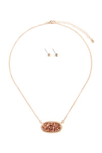 S4-4-2-AVNE0531GDCP CHAMPAGNE DRUZY STONE PENDANT NECKLACE AND STUD EARRING SET/6SETS