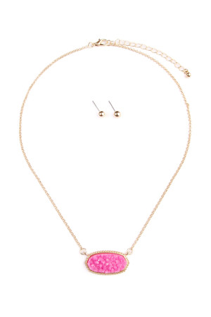 S6-6-3-AVNE0531GDPK GOLD PINK DRUZY STONE PENDANT NECKLACE AND STUD EARRING SET/6SETS