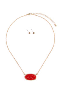 S7-6-2-AVNE0531GDRD GOLD RED DRUZY STONE PENDANT NECKLACE AND STUD EARRING SET/6SETS