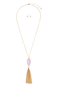 SA4-1-2-AVNE0715GDLV GOLD LAVENDER CHAIN TASSEL NECKLACE/6PCS