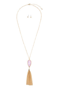 SA4-1-3-AVNE0715GDLVOP GOLD LAVENDER OPALESCENT CHAIN TASSEL NECKLACE/6PCS