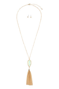 SA4-1-2-AVNE0715GDMNOP GOLD MINT OPALESCENT CHAIN TASSEL NECKLACE/6PCS
