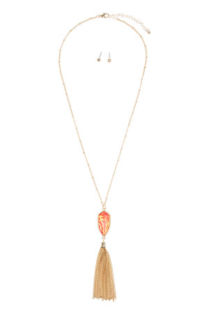 SA4-1-1-AVNE0715GDRDOP GOLD RED OPALESCENT CHAIN TASSEL NECKLACE/6PCS