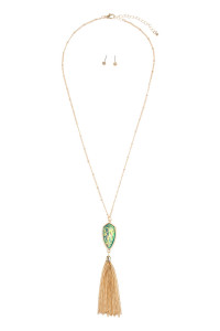 SA4-1-3-AVNE0715GDTQOP GOLD TURQUOISE OPALESCENT CHAIN TASSEL NECKLACE/6PCS