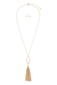 SA4-1-2-AVNE0715GDWT GOLD WHITE CHAIN TASSEL NECKLACE/6PCS