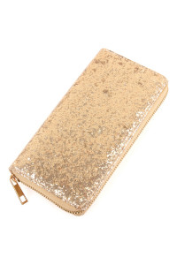 S4-6-2-AWA0043-GOLD - GLITTER SINGLE ZIPPER WALLET/6PCS