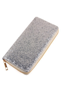S4-6-3-AWA0043-PEWTER - GLITTER SINGLE ZIPPER WALLET/6PCS