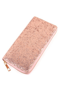 S4-6-3-AWA0043-PINK - GLITTER SINGLE ZIPPER WALLET/6PCS