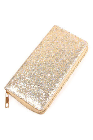 S6-4-2-AWA0043-SILVER - GLITTER SINGLE ZIPPER WALLET/6PCS