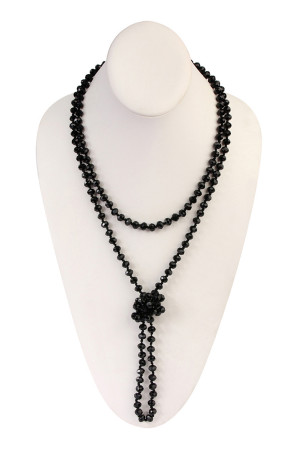 "SA4-1-4-AWHDN2209JT BLACK 60"" LONG KNOTTED GLASS BEADS NECKLACE/6PCS"