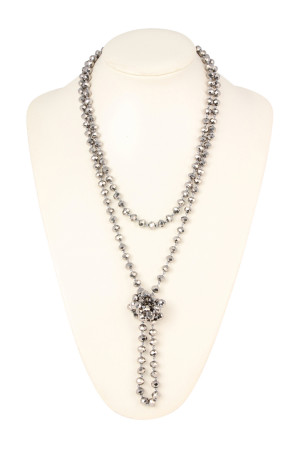 "S4-4-4-AWHDN2209S SILVER 60"" LONG KNOTTED GLASS BEADS NECKLACE/6PCS"