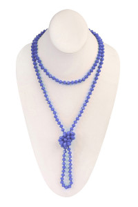 "SA4-3-2-AWHDN2209SP SAPPHIRE 60"" LONG KNOTTED GLASS BEADS NECKLACE/6PCS"