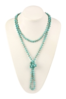 "SA4-1-2-AWHDN2209TQ TURQUOISE 60"" LONG KNOTTED GLASS BEADS NECKLACE/6PCS"