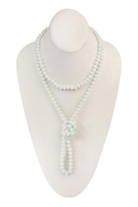 "S19-7-2-HDN2209WT WHITE 60"" LONG KNOTTED GLASS BEADS NECKLACE/6PCS"