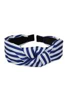 S2-6-1-XHA5490BL- STRIPED CLOTHED HAIR BAND-BLUE/6PCS
