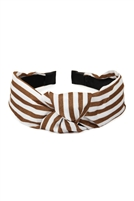 S2-6-1-XHA5490BR- STRIPED CLOTHED HAIR BAND-BROWN/6PCS