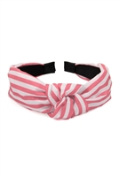 S2-6-1-XHA5490PK- STRIPED CLOTHED HAIR BAND-PINK/6PCS