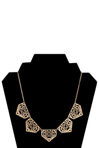 S5-6-3-AXNK1196G GOLD CUTOUT PENTAGON NECKLACE/6PCS